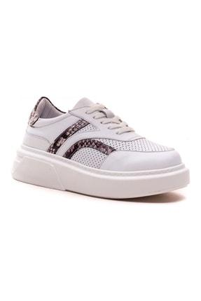 GRADA Kadın Beyaz  Hakiki Deri Yüksek Taban Bağcıklı Sneaker Ayakkabı 3