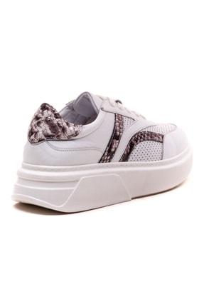 GRADA Kadın Beyaz  Hakiki Deri Yüksek Taban Bağcıklı Sneaker Ayakkabı 4