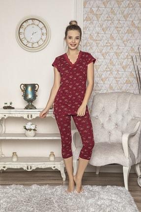 MODAREYA Kadın Bordo Kısa Kollu Kaprili Slim Fit Pijama Takımı 1