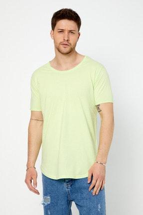 Tarz Cool Erkek Açık Fıstık Yeşili Pis Yaka Salaş T-shirt 0