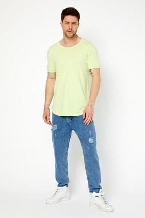Tarz Cool Erkek Açık Fıstık Yeşili Pis Yaka Salaş T-shirt 1