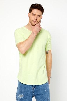 Tarz Cool Erkek Açık Fıstık Yeşili Pis Yaka Salaş T-shirt 2