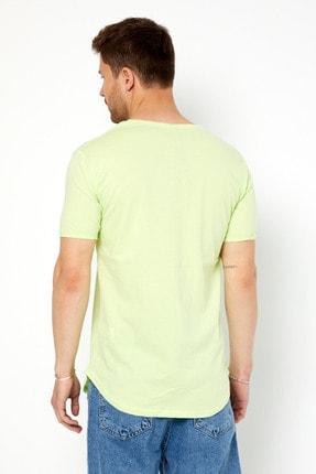Tarz Cool Erkek Açık Fıstık Yeşili Pis Yaka Salaş T-shirt 3