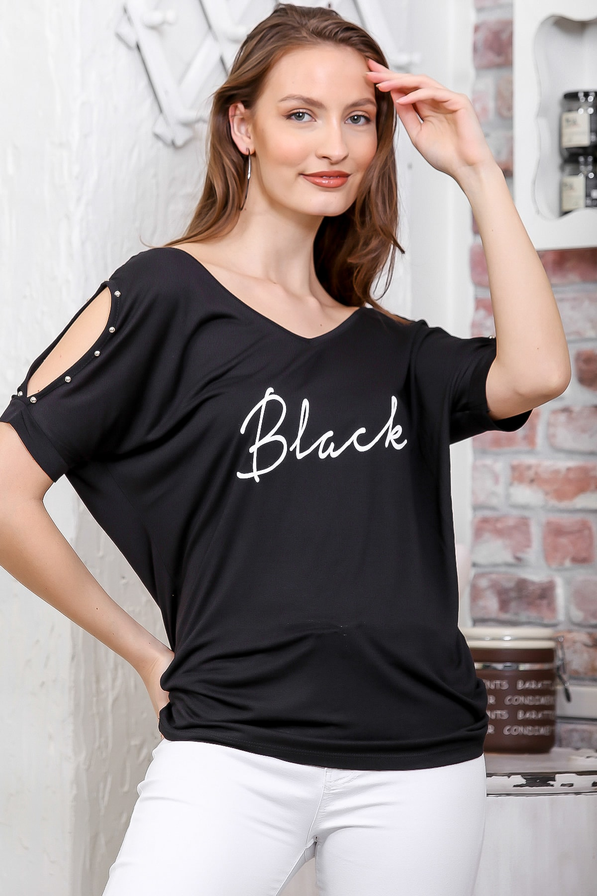 Chiccy Kadın Siyah Ön Arka V Yaka Omuz Pencereli Baskılı T-Shirt M10010300TS98278 0