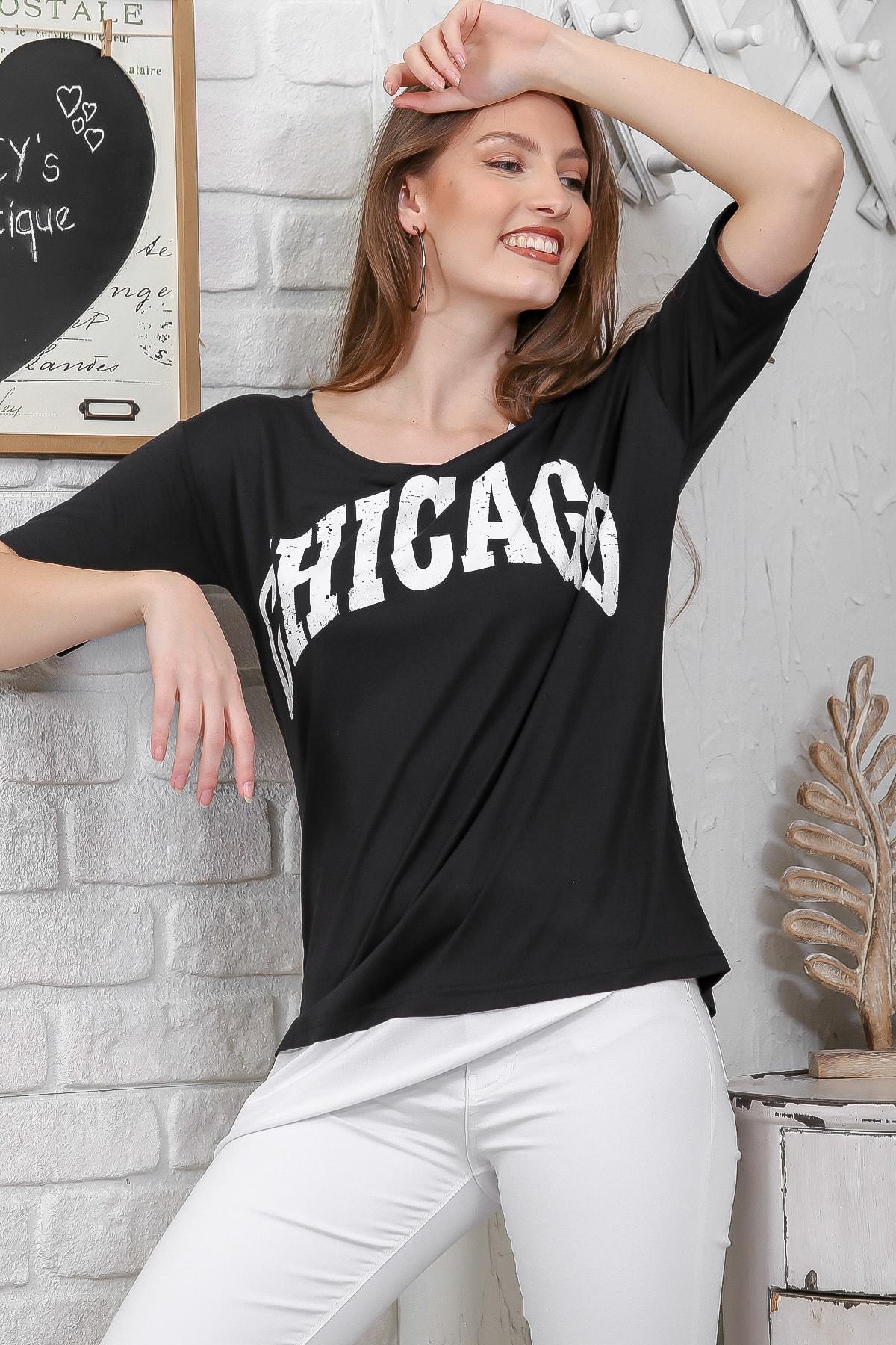Chiccy Kadın Siyah Chıcago Baskılı Tek Omuz Askılı Etek Ucu Bloklu T-Shirt M10010300TS98274 3