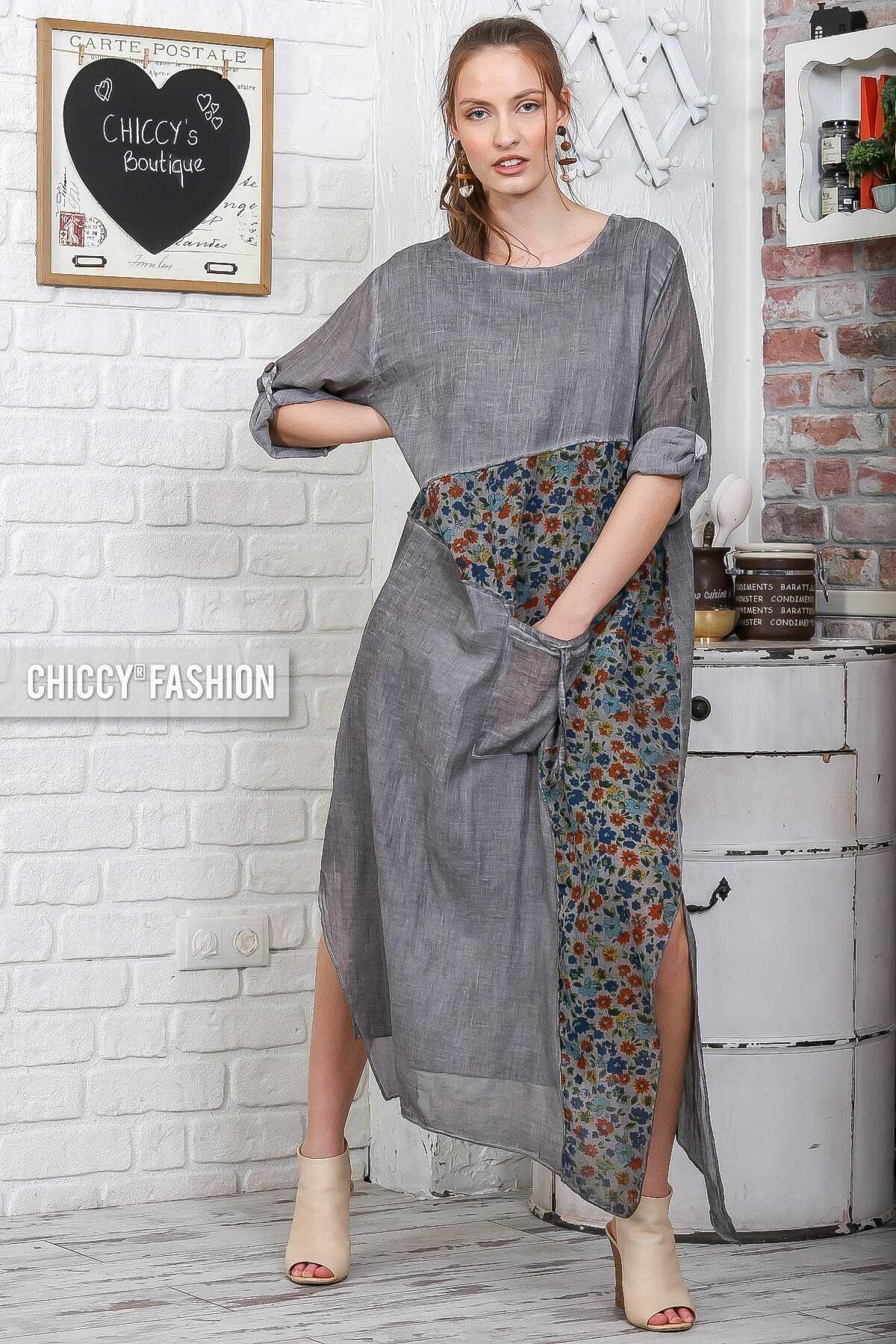 Kadın Füme Sıfır Yaka Kolları Ayarlı Çiçekli Bloklu Tek Cepli Yıkamalı Elbise C10160000EL95075