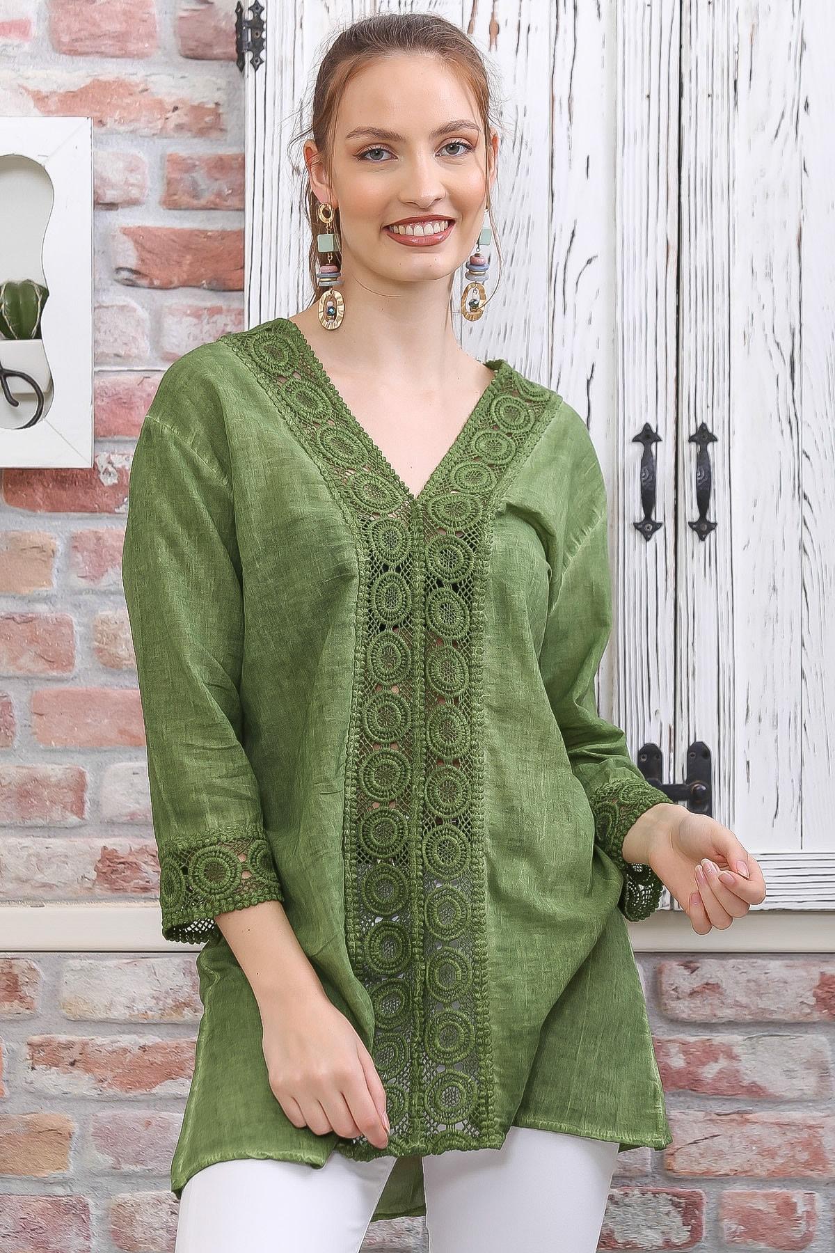 Chiccy Kadın Yeşil Dantel Şerit Detaylı 3/4 Kol Dokuma Bluz M10010200BL95437 0