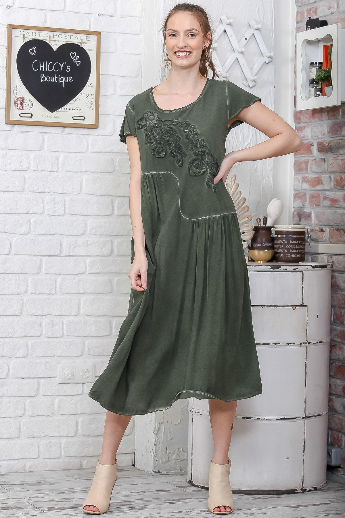 Chiccy Kadın Haki Sıfır Yaka Süzene Çiçek Aplikeli Salaş Yıkamalı Elbise M10160000EL95109 1