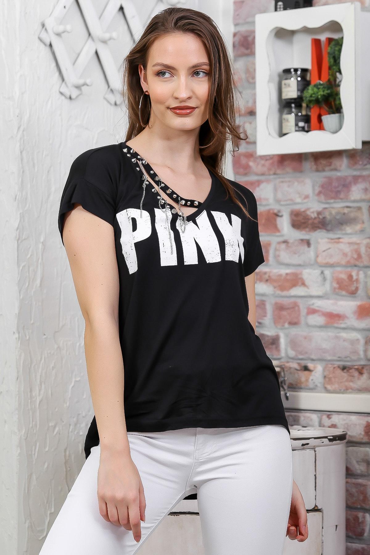 Chiccy Kadın Siyah V Yaka Pınk Baskılı Zincir Detaylı T-Shirt M10010300TS98280 2