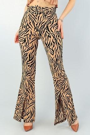 Md1 Collection Leopar Desenli Yırtmaç Detaylı Kemerli Ispanyol Paça Pantolon 63195 0