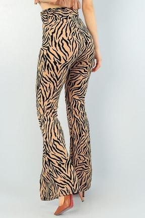 Md1 Collection Leopar Desenli Yırtmaç Detaylı Kemerli Ispanyol Paça Pantolon 63195 1