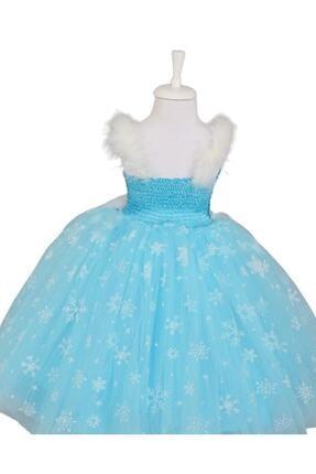 BAL BEBE Kız Çocuk Mavi Askılı Tarlatanlı Taç Asa Elsa Elbise Frozen 1