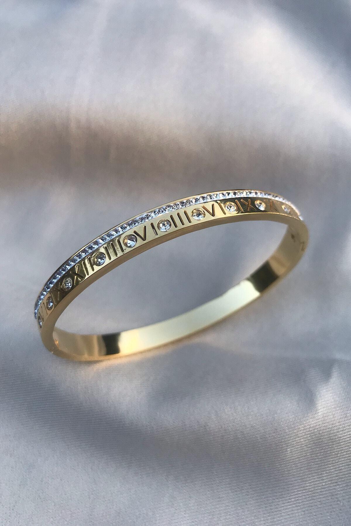 Roma Rakamlı Zirkon Taşlı Altın Rengi 316l Çelik Bileklik