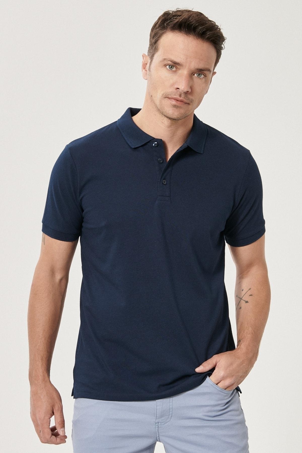 Erkek LACI-LACI Düğmeli Polo Yaka Cepsiz Slim Fit Dar Kesim Düz Tişört