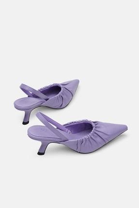 Jorbinol Kadın Lila Deri Klasik Topuklu Ayakkabı 2