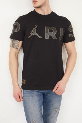 FORTY FOUR Erkek Siyah Regular Fit Baskılı T-shirt 1