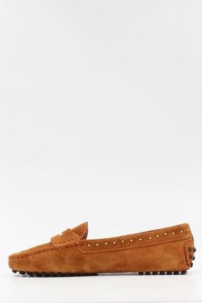 West To West Kadın Taba Süet Loafer Ayakkabı 2