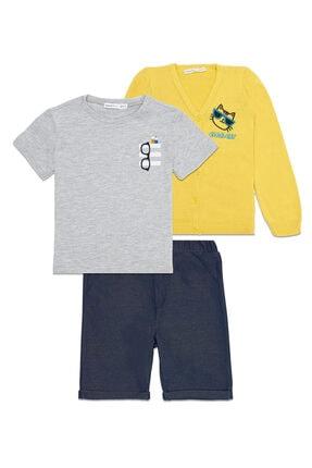 تصویر از Erkek Çocuk T Shirt Şort Hırka Seti T12
