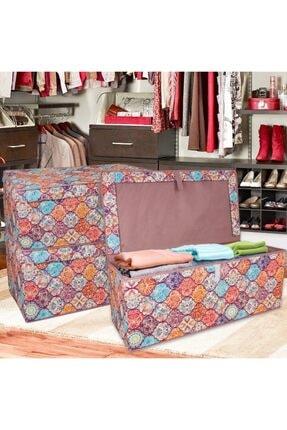 Lumier 3 Adet Maxi Kapaklı Kutu Hurç Eşya Yastık Kıyafet Saklama Kutu Seti 50x40x30 Cm 0