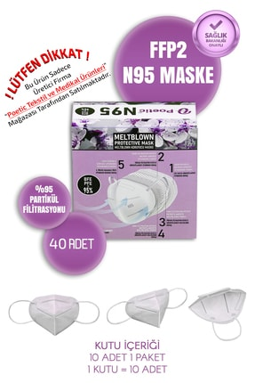 POETİC N95 Koruyucu Maske 40 Adet 123n95poe40 0