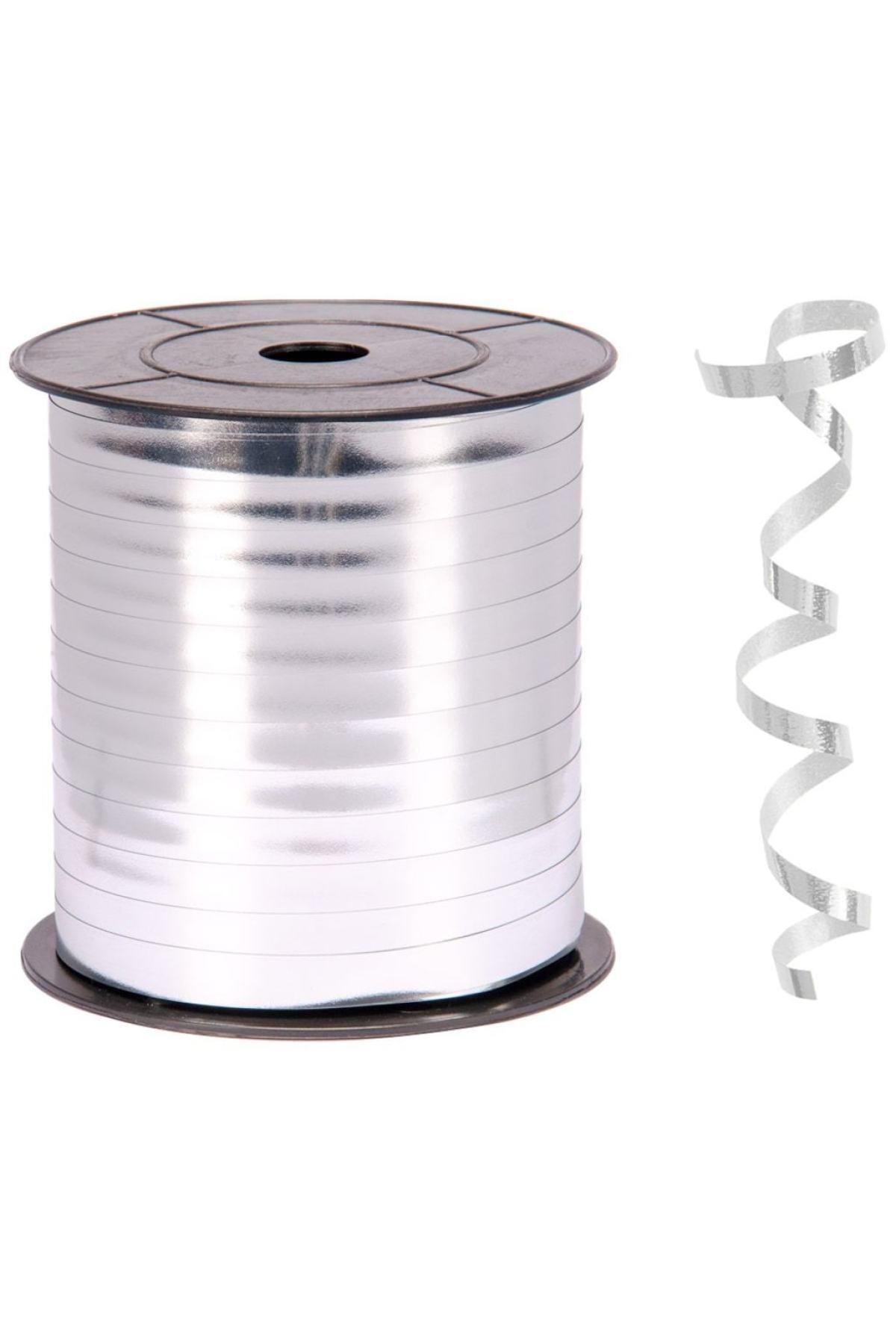200 Metre Parlak Gümüş Renkli Metalik Şerit Gri Rafya 8 Mm Balon Ipi Plastik Balon Süsleme Kurdelesi