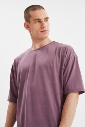 TRENDYOL MAN Açık Mor Basic Erkek Bisiklet Yaka Oversize Kısa Kollu T-Shirt TMNSS21TS0811 1