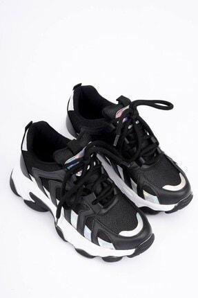 DİVOLYA Kadın Siyah Hologramlı Kalın Taban Bağcıklı Spor Ayakkabı 1