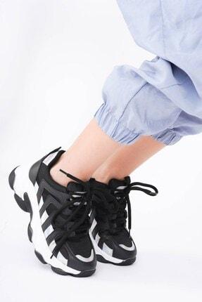 DİVOLYA Kadın Siyah Hologramlı Kalın Taban Bağcıklı Spor Ayakkabı 2