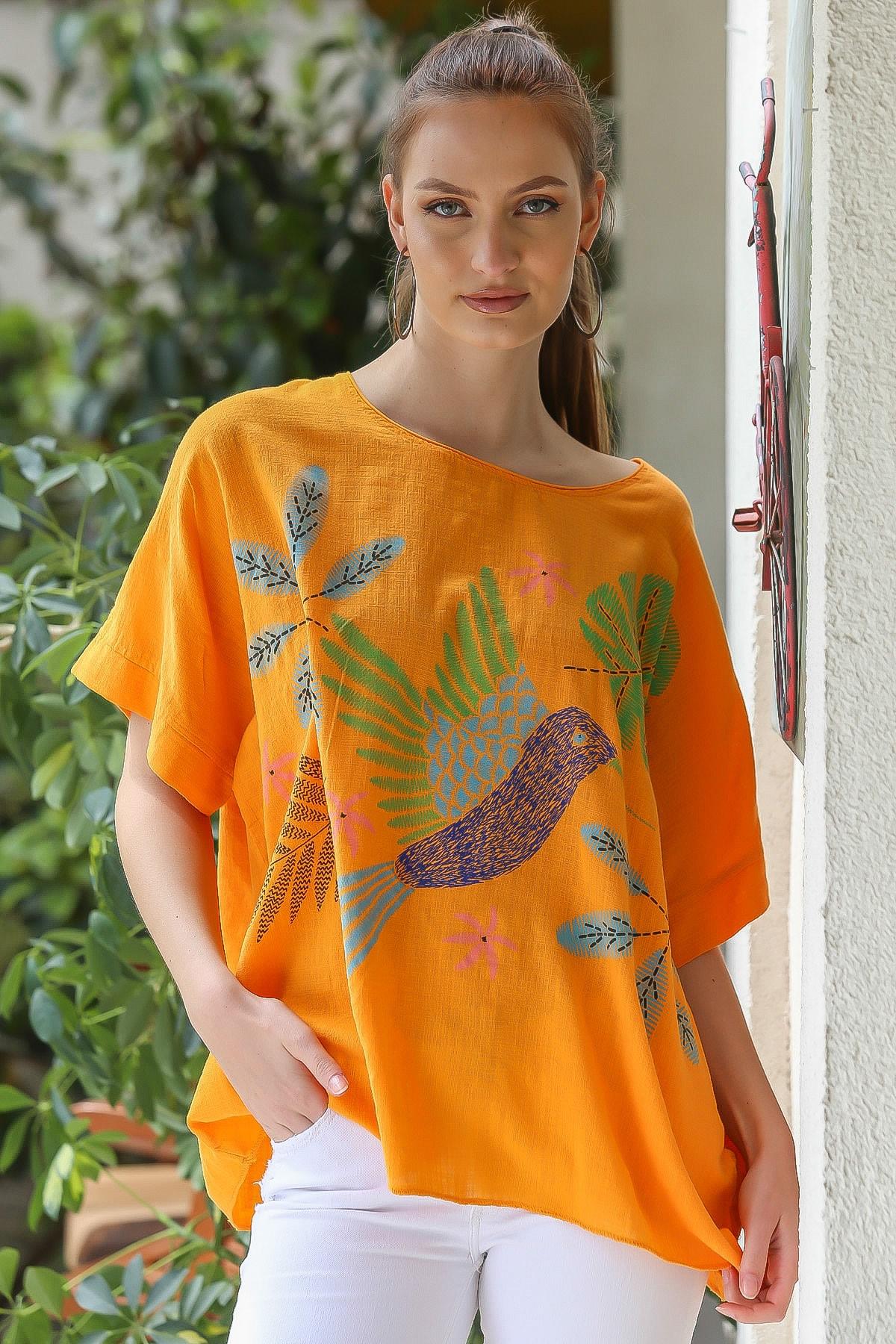 Chiccy Kadın Turuncu  Sıfır Yaka Yalı Çapkını Kuş Desenli Salaş Dokuma Bluz M10010200BL95418 2