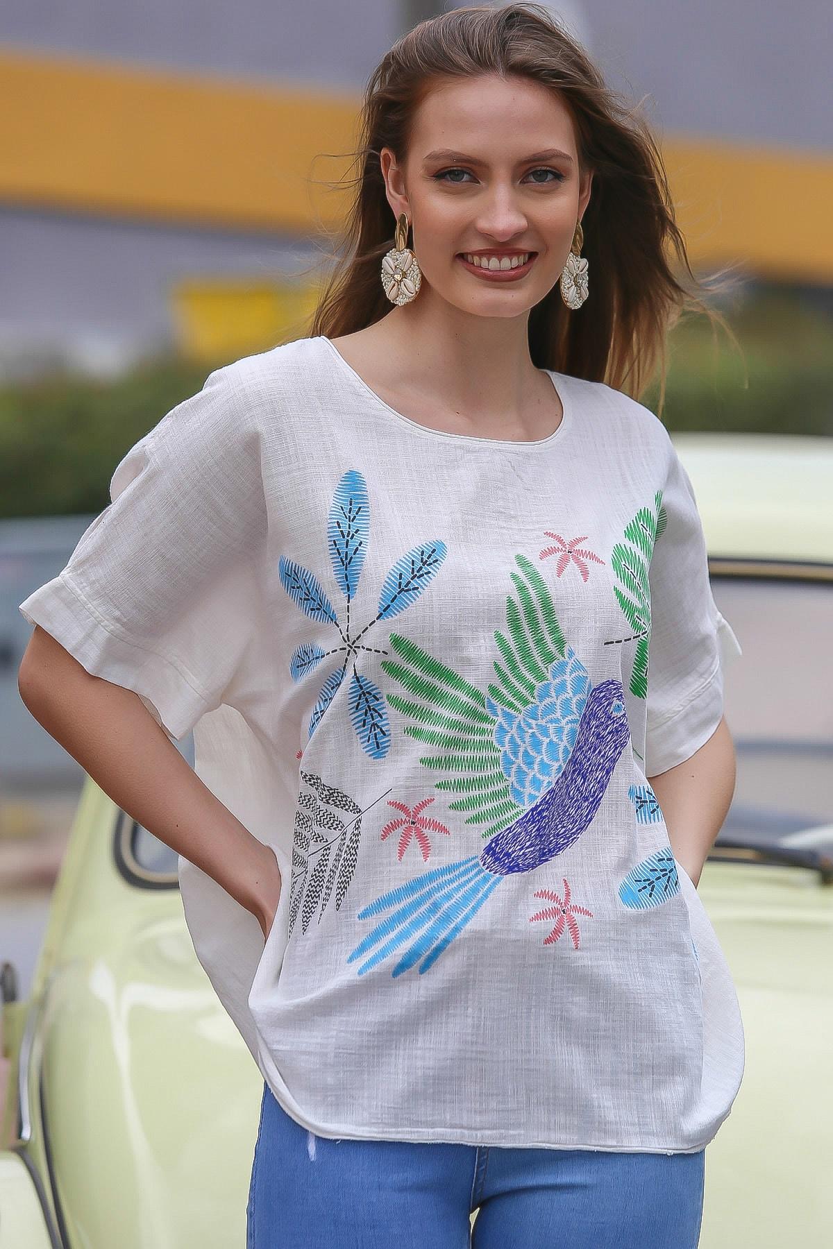 Chiccy Kadın Beyaz Sıfır Yaka Yalı Çapkını Kuş Desenli Salaş Dokuma Bluz M10010200BL95418 2