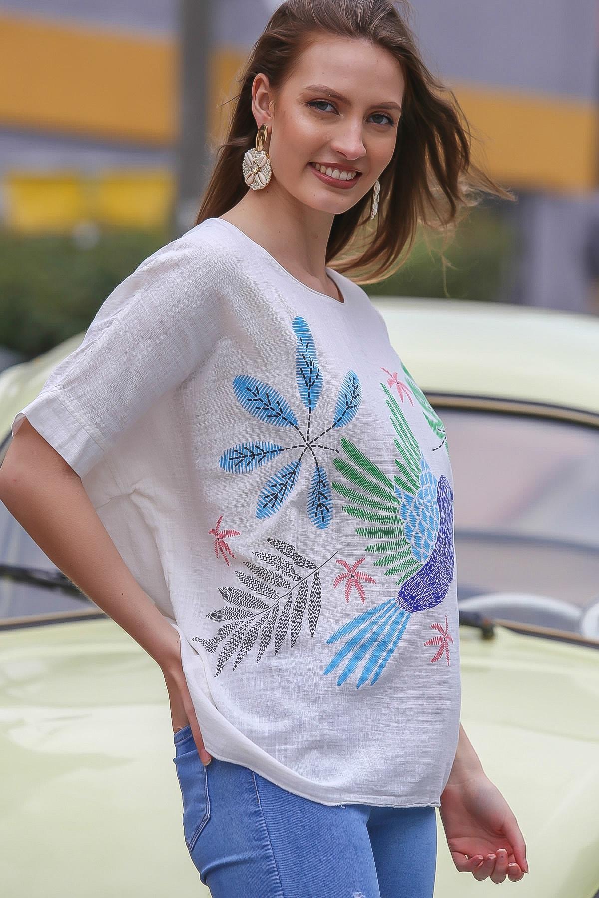 Chiccy Kadın Beyaz Sıfır Yaka Yalı Çapkını Kuş Desenli Salaş Dokuma Bluz M10010200BL95418 3
