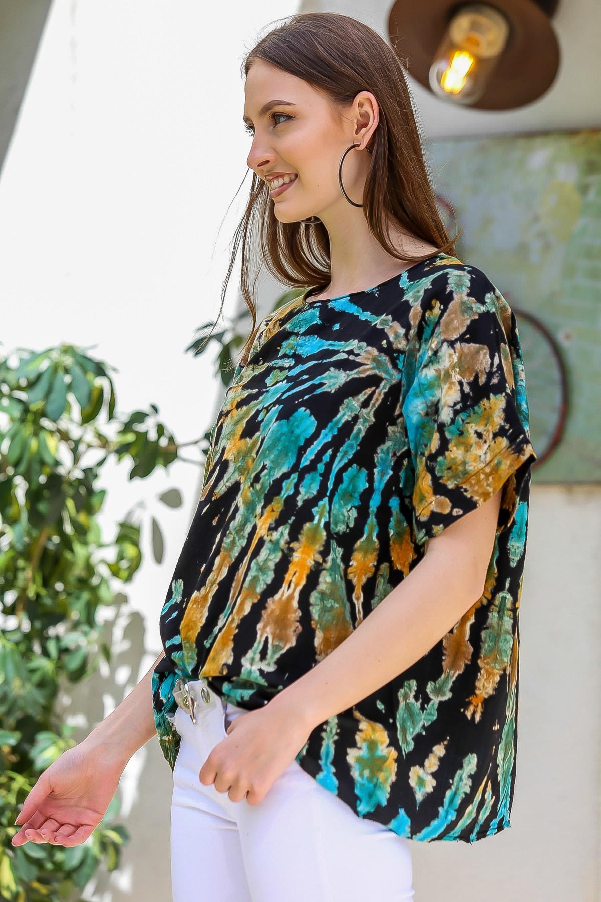 Chiccy Kadın Siyah-Mavi Sıfır Yaka Batik Desenli Dokuma Salaş Bluz M10010200BL95416 3