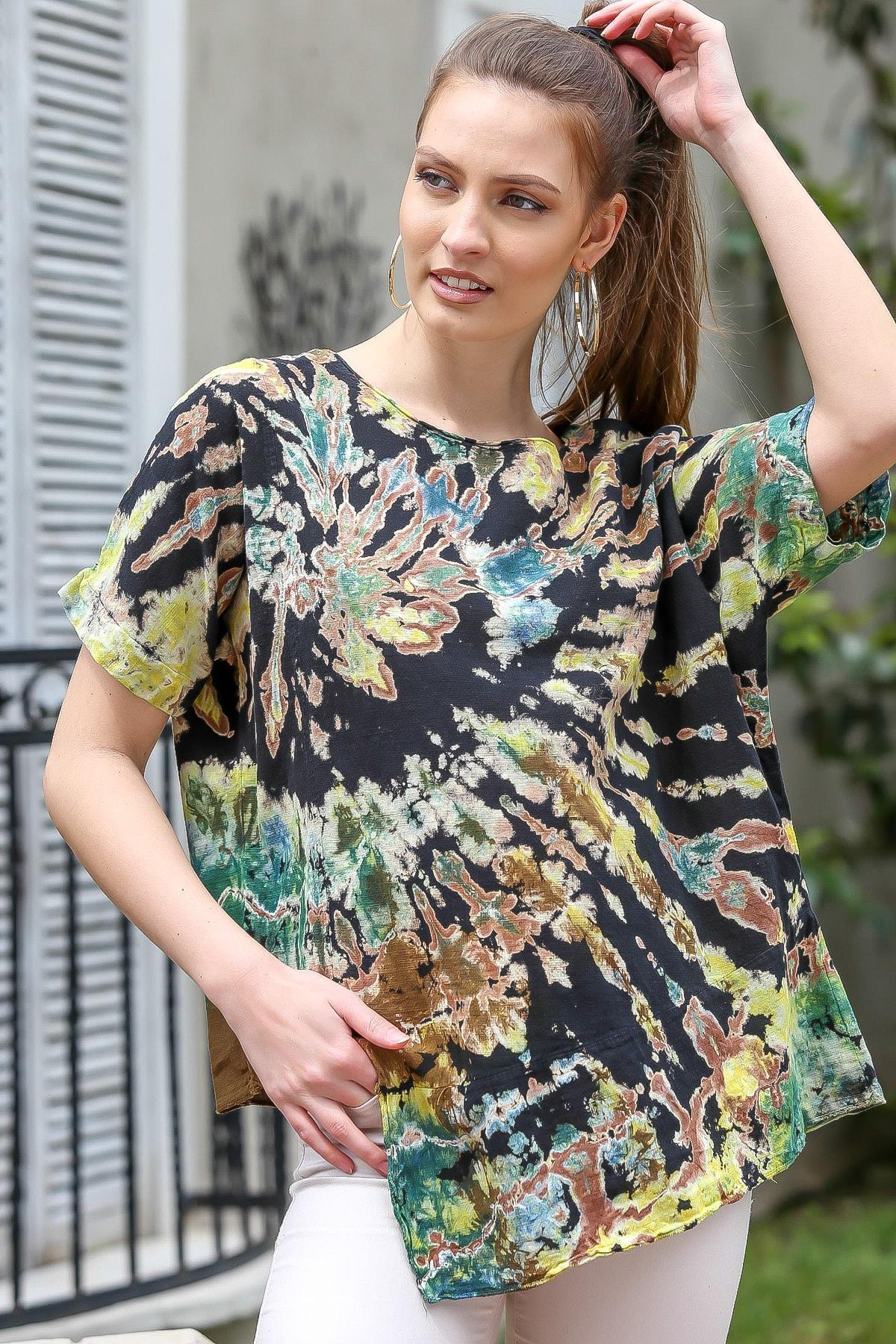 Chiccy Kadın Siyah-Bej Sıfır Yaka Batik Desenli Dokuma Salaş Bluz M10010200BL95416 0