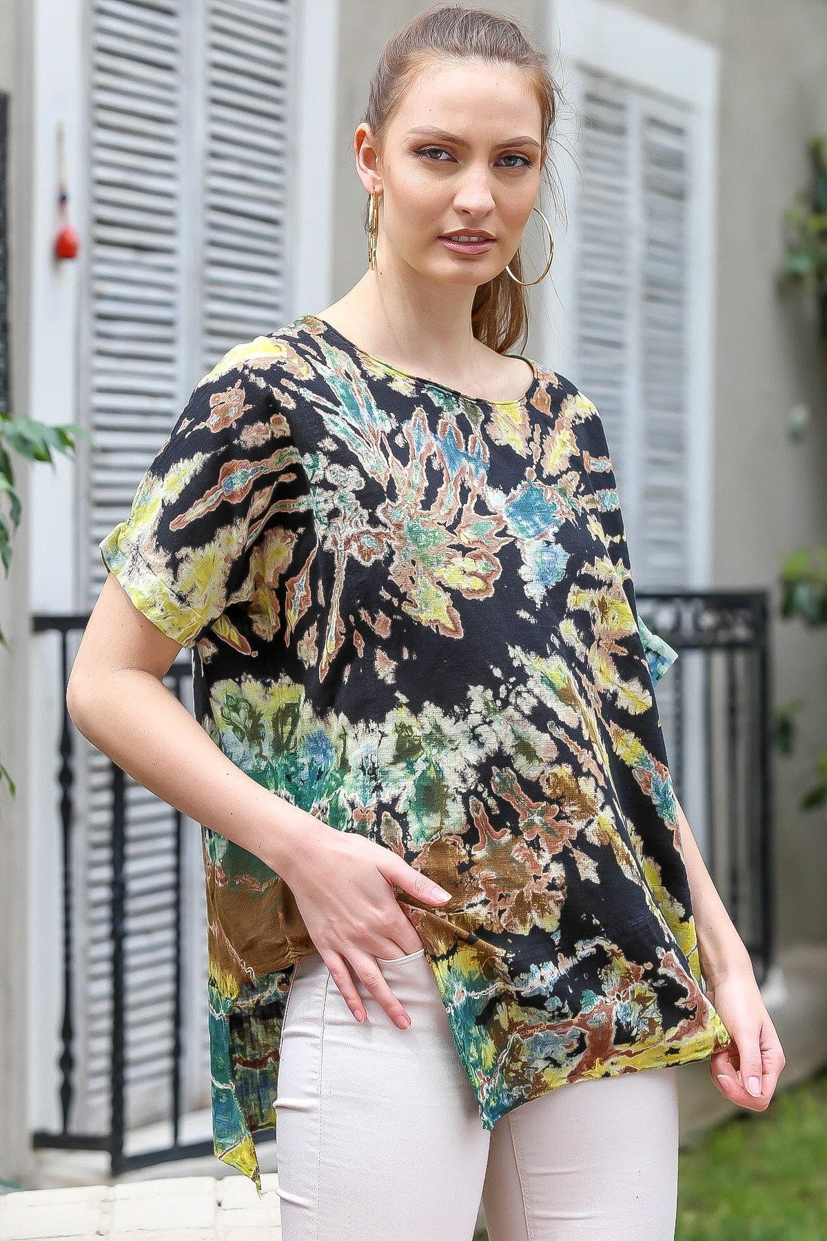 Chiccy Kadın Siyah-Bej Sıfır Yaka Batik Desenli Dokuma Salaş Bluz M10010200BL95416 2
