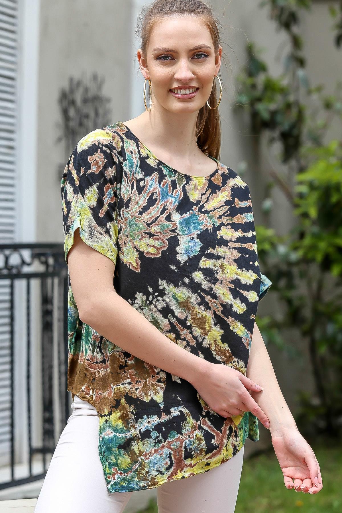 Chiccy Kadın Siyah-Bej Sıfır Yaka Batik Desenli Dokuma Salaş Bluz M10010200BL95416 3