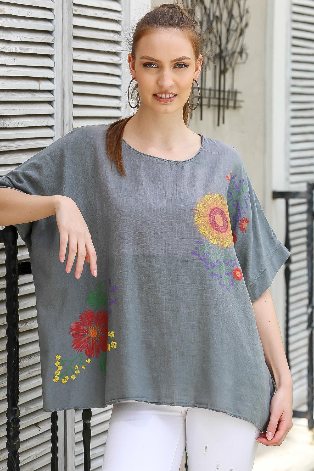 Chiccy Kadın Füme Sıfır Yaka Günebakan Çiçek Desenli Salaş Dokuma Bluz M10010200BL95412 0