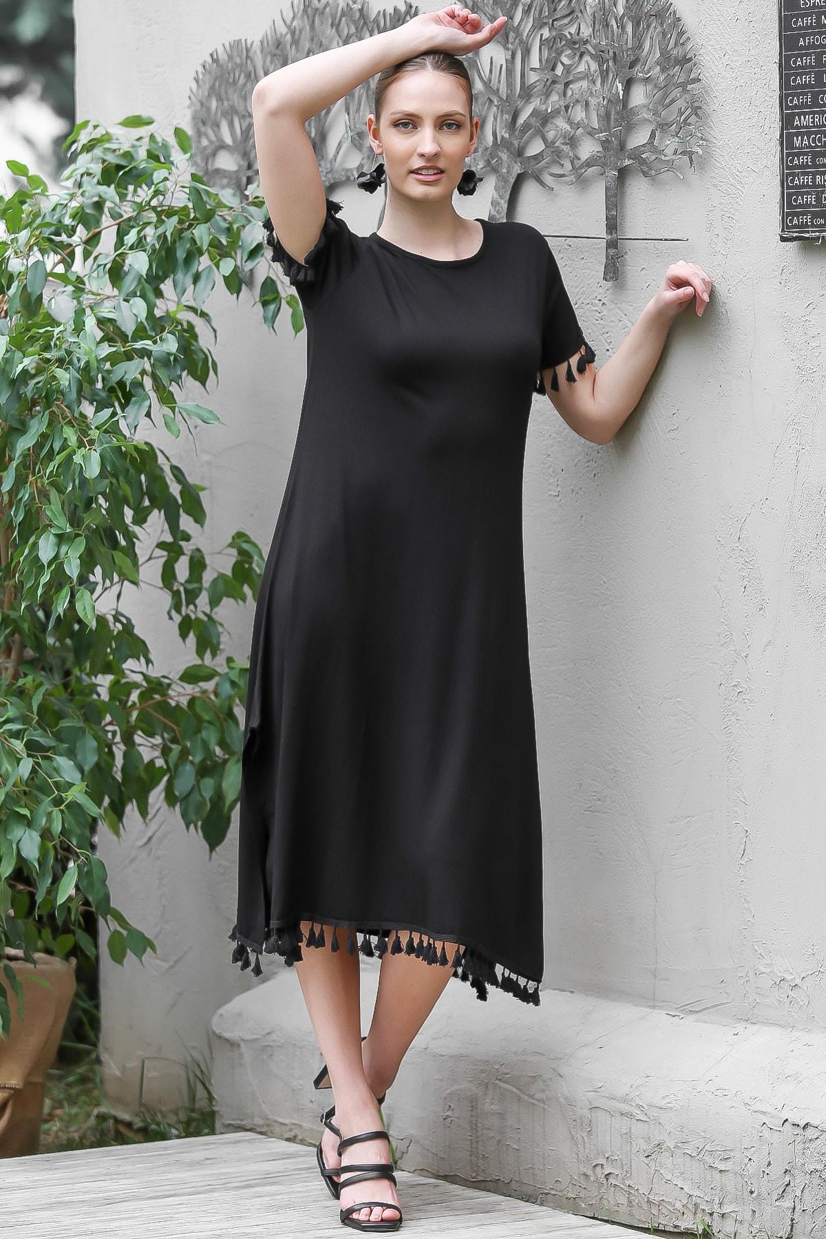 Chiccy Kadın Siyah Sıfır Yaka Kol Ve Etek Ucu Püsküllü Yırtmaçlı Elbise M10160000EL95067 2