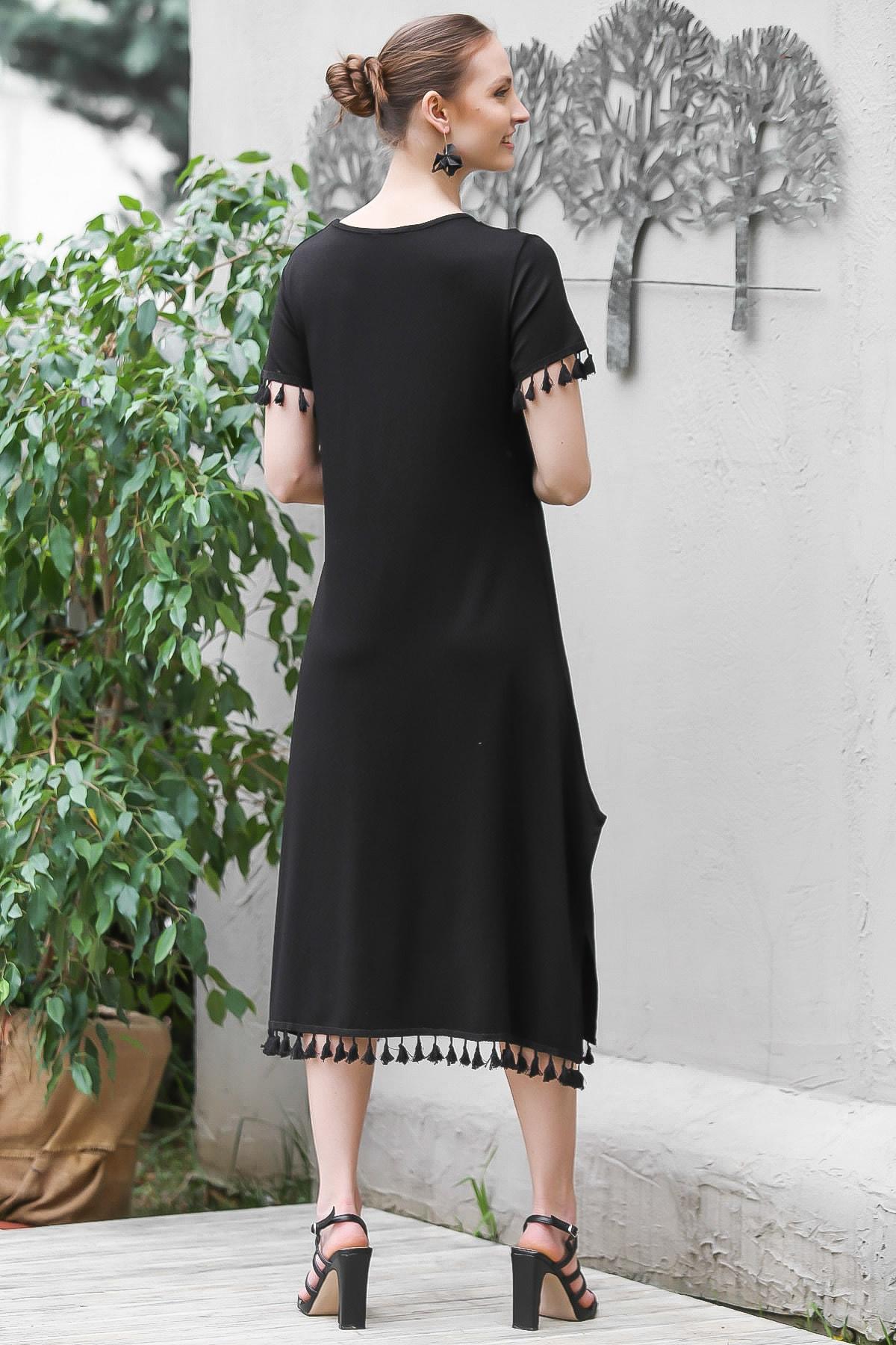 Chiccy Kadın Siyah Sıfır Yaka Kol Ve Etek Ucu Püsküllü Yırtmaçlı Elbise M10160000EL95067 3