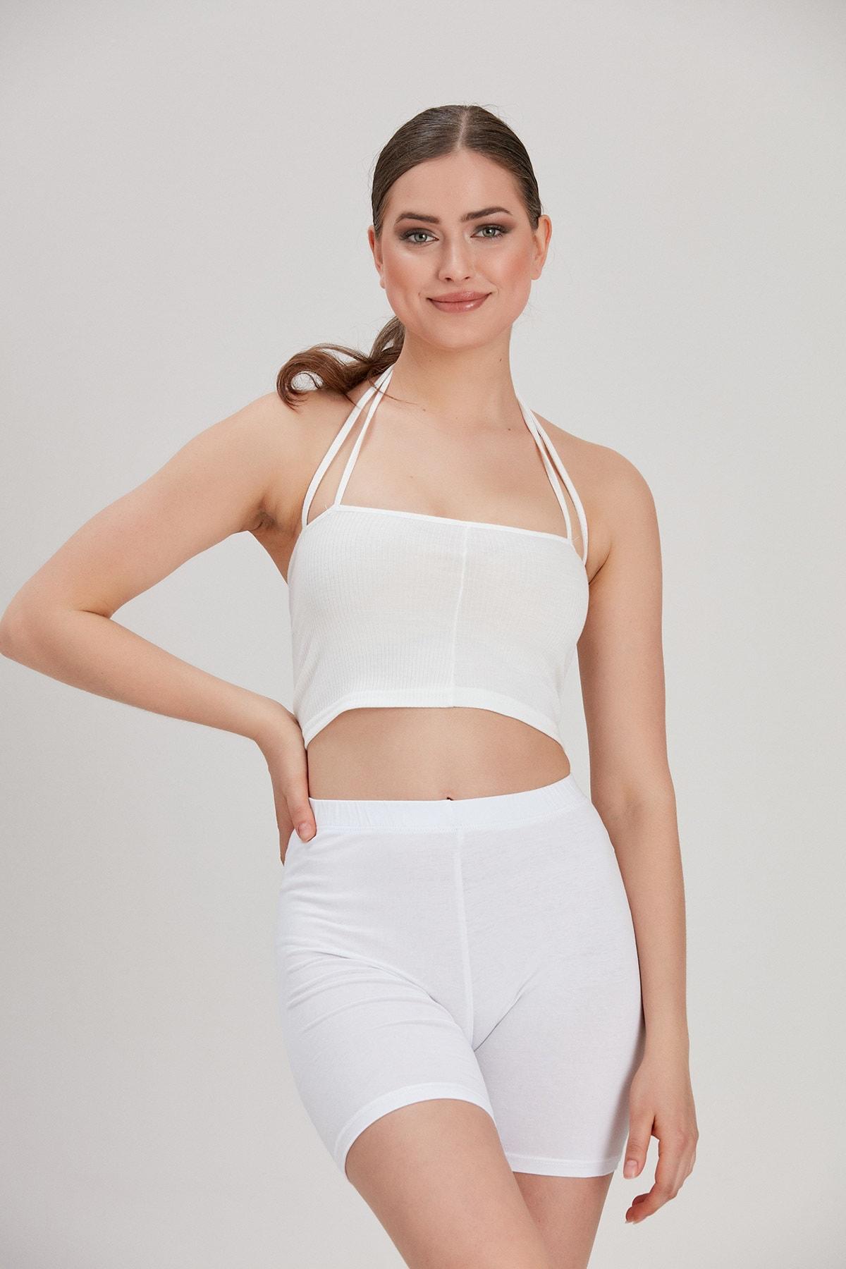 Y-London Kadın Beyaz Kısa Tayt YL-PN99810 2