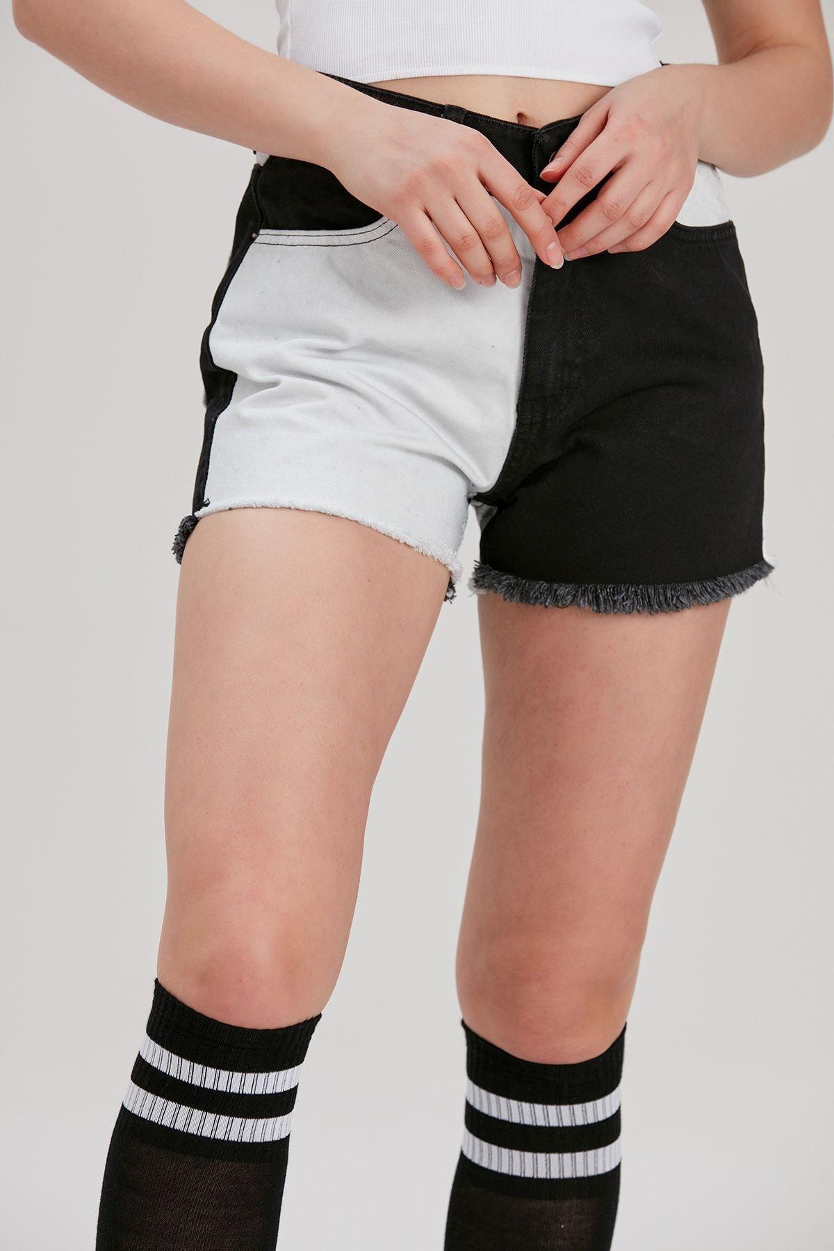 Y-London Kadın Siyah-Beyaz Renk Bloklu Kot Şort YL-PN99853 1