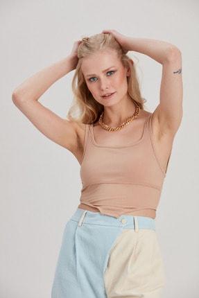 Kadın Bej Body Crop Bluz YL-BL99649 resmi