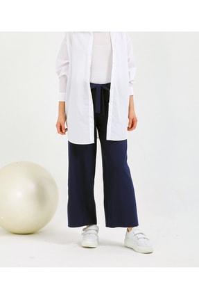 Gentekstil Kadın Lacivert  GenPlus Bel Lastikli Rahat Kesim Pantolon 2