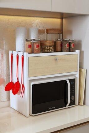 Bayz Tasarım Tezgah Üstü Kapaklı Mikrodalga Fırın Raf Ekmek Dolabı 0