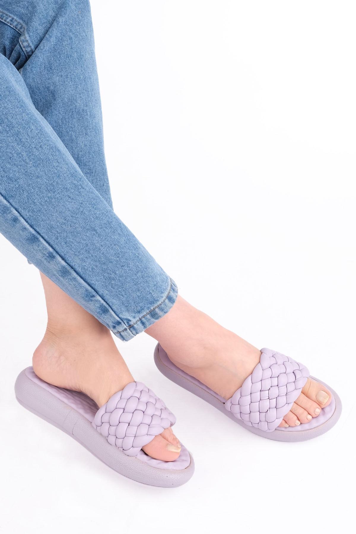Kadın lila Dolgu Topuk Terlik Fingo