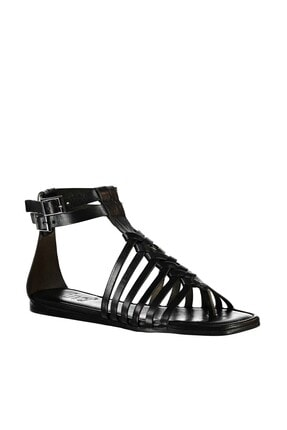 İnci Hakiki Deri Siyah Kadın Sandalet 120130000047 3