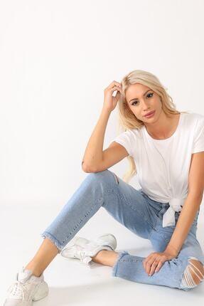 Beyaz Giyim Moda Kadın Mavi Bilek Boy Mom Jean Kot Pantolon 2