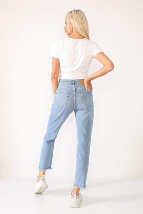 Beyaz Giyim Moda Kadın Mavi Bilek Boy Mom Jean Kot Pantolon 3