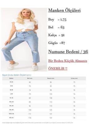 Beyaz Giyim Moda Kadın Mavi Bilek Boy Mom Jean Kot Pantolon 4