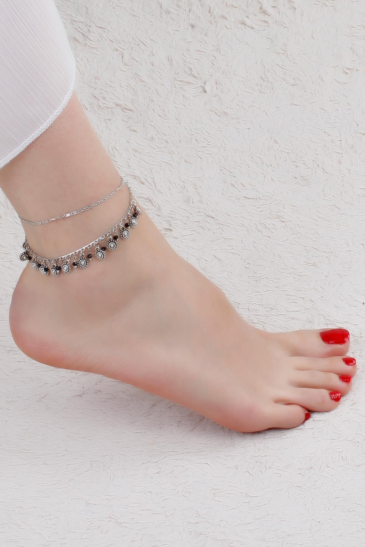 Kadın El Yapımı Otantik Gümüş Kaplama Halhal