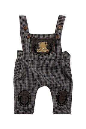 Murat Baby Erkek Bebek Kahverengi Kasketli Askılı Slopetli Takım 3 Lü 1